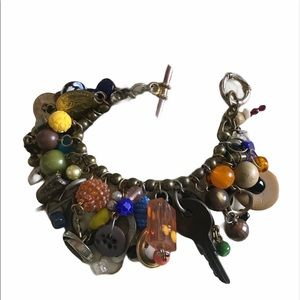 Vintage Big Bold Colorful Charm Bracelet Gypsy
